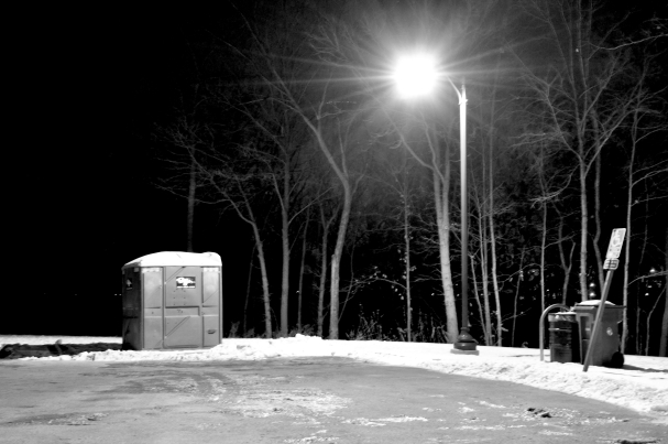 black and white parkway porta-pottie