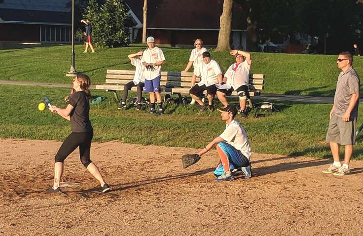 Batter about to hit a softball